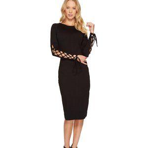Susana Monaco Tala Lace Up Sleeve Dress in Black